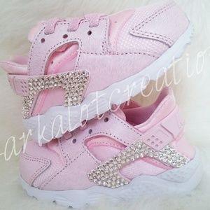 Bling nike huarache baby pink new